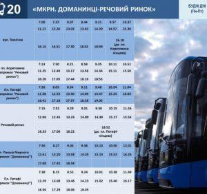 В Ужгороді змінюється графіку руху автобусів на маршруті №20
